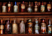 Antique Bottles Posters - Pharmacy - Caution Dont mix together Poster by Mike Savad