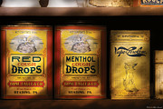 Yellows Framed Prints - Pharmacy - Cough Drops Framed Print by Mike Savad