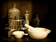 Medicine Bottle Posters - Pharmacy - mortar and pestle - black and white Poster by Paul Ward