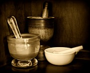 Mortar And Pestle Framed Prints - Pharmacy - Mortars and Pestles - black and white Framed Print by Paul Ward