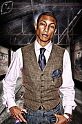 Photo Manipulation Digital Art Posters - Pharrell Poster by The DigArtisT