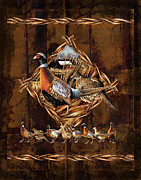 Hunting Cabin Painting Framed Prints - Pheasant Lodge Framed Print by JQ Licensing