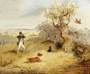 Dog  Metal Prints - Pheasant Shooting Metal Print by Henry Thomas Alken
