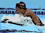 Sports Art Digital Art Posters - Phelps 2 Poster by George Pedro
