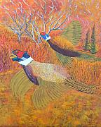 Game Pastels Prints - Phesants in Flight Print by Roy Penny