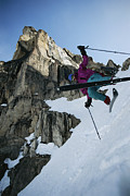 Snow Scenes Art - Phil Atkinson Skiing A Gully On Mount by Tim Laman