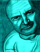 Writer Drawings Prints - Phil in Blue Print by Richard Heyman