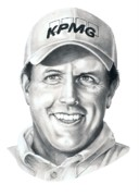 Famous People Drawings - Phil Michelson  by Murphy Elliott