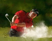 Masters Winners Prints - Phil Mickelson - Lefty in Action Print by Colleen Taylor