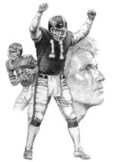 Giants Drawings - Phil Simms by Harold Shull
