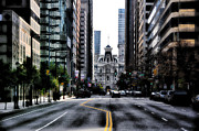 Hall Digital Art Posters - Philadelphia - Market Street Facing City Hall Poster by Bill Cannon