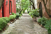 Red Tapestries Textiles Originals - Philadelphia Alley Charleston Pathway by Dustin K Ryan