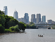 Waterscape Digital Art - Philadelphia Along the Schuylkill River by Bill Cannon