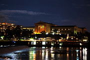 Philadelphia Art Museum Prints - Philadelphia Art Museum and Waterworks All Lit Up Print by Bill Cannon