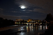 Art Museum Prints - Philadelphia Art Museum and Waterworks under a Full Moon Print by Bill Cannon