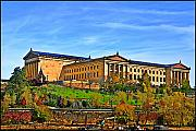 Philadelphia Digital Art Metal Prints - Philadelphia Art Museum from West River Drive. Metal Print by Bill Cannon