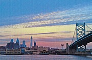 Ben Franklin Bridge Posters - Philadelphia at Dawn Poster by Bill Cannon
