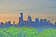 Philadelphia Skyline Digital Art Prints - Philadelphia at Sunrise Print by Bill Cannon