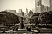 Downtown Acrylic Prints - Philadelphia Benjamin Franklin Parkway in Sepia Acrylic Print by Bill Cannon