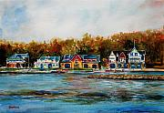 Philadelphia Scene Paintings - Philadelphia Boat Houses by Joyce A Guariglia