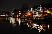 Schuylkill Prints - Philadelphia Boathouse Row at Night Print by Gary Whitton