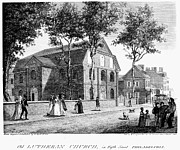 Philadelphia Scene Framed Prints - Philadelphia: Church, 1800 Framed Print by Granger