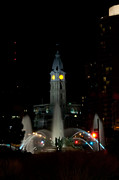 City Hall Prints - Philadelphia City Hall and Swann Fountain at Night Print by Bill Cannon