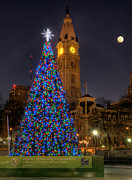 Philadelphia City Hall Framed Prints - Philadelphia City Hall at Christmas Framed Print by Gerry Mann