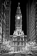 Black And White Photograph Of  Posters - Philadelphia City Hall at Night Poster by Val Black Russian Tourchin