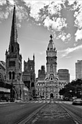 Historic Statue Posters - Philadelphia City Hall BW Poster by Susan Candelario