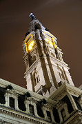 Masonry Framed Prints - Philadelphia City Hall Clock Tower at Night Framed Print by Gary Whitton