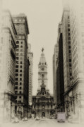 Hall Digital Art Framed Prints - Philadelphia City Hall From South Broad Street Framed Print by Bill Cannon