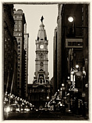 Philadelphia Street Framed Prints - Philadelphia City Hall Framed Print by Louis Dallara
