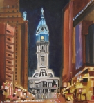 Night Scenes Painting Originals - Philadelphia City Hall by Patricia Arroyo