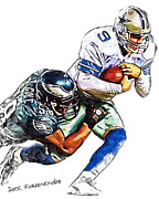 Romo Photos - Philadelphia Eagles Trent Cole  Dallas Cowboys Tony Romo by Jack Kurzenknabe