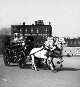 Horse And Wagon Photos - Philadelphia Fire Department Engine - c 1905 by International  Images