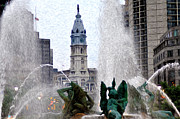 City Hall Framed Prints - Philadelphia Fountain Framed Print by Bill Cannon