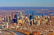 Philadelphia From The Air Prints - Philadelphia from Schyulkill to Delaware Print by Duncan Pearson