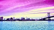 Pink Skies Prints - Philadelphia Morning View Print by Bill Cannon