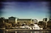 Waterworks Digital Art - Philadelphia Museum of Art and the Fairmount Waterworks From West River Drive by Bill Cannon