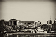 Philadelphia Metal Prints - Philadelphia Museum of Art and the Fairmount Waterworks From West River Drive in Black and White Metal Print by Bill Cannon