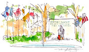 American City Drawings Prints - Philadelphia Park Print by Marilyn MacGregor
