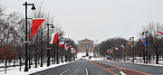 Art Museum Prints - Philadelphia Parkway in the Snow Print by Bill Cannon