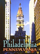 Philadelphia Mixed Media Prints - Philadelphia Pennsylvania Poster Print by Peter Art Prints Posters Gallery