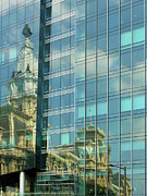 Blue Glass World Prints - Philadelphia Reflections Print by Russ Harris