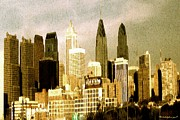 Philadelphia Drawings Posters - Philadelphia Skyline - Watercolor Poster by Peter Art Print Gallery  - Paintings Photos Posters