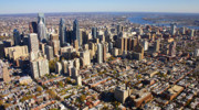 Aerials Of Philly Cricket Prints - Philadelphia Skyline Aerial Graduate Hospital Rittenhouse Square Cityscape Print by Duncan Pearson