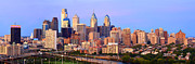 Philadelphia Scene Framed Prints - Philadelphia Skyline at Dusk Sunset Pano Framed Print by Jon Holiday