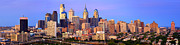 Philadelphia Scene Framed Prints - Philadelphia Skyline at Sunset Dusk Wide Pano Framed Print by Jon Holiday