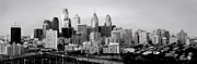 Philadelphia Scene Framed Prints - Philadelphia Skyline Black and White BW Pano Framed Print by Jon Holiday